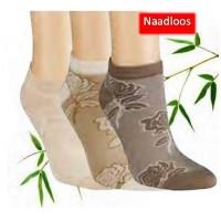 Bamboe sneaker sokken  - Bloem print (3 paar)
