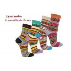 """""""Multi-Kleuren"""" sokken van 90% katoen (3 paar)"""
