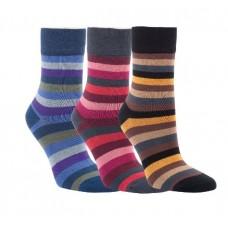 "Bamboe sokken ""Stripes"" zonder knellend elastiek (3 paar)"